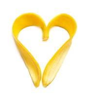banana heart isolated on white